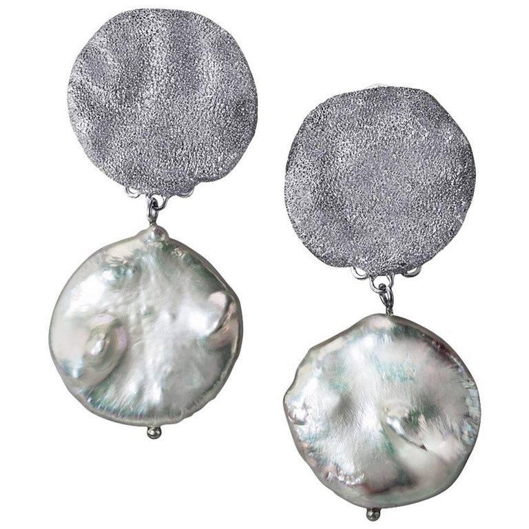Alex Soldier Pearl Sterling Silver Platinum Textured Drop Dangle Earrings