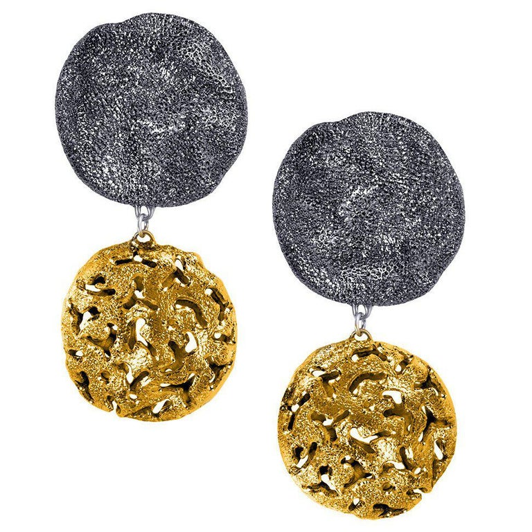 Alex Soldier Sterling Silver Gold Platinum Drop Textured Clip-On Earrings