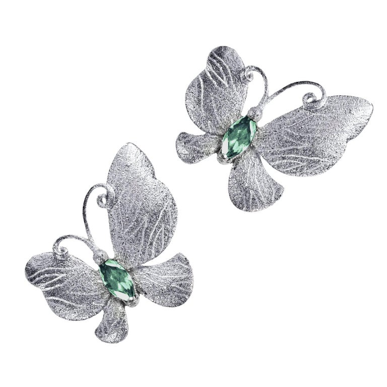 Alex Soldier Tourmaline Sterling Silver Platinum Textured Butterfly Earrings