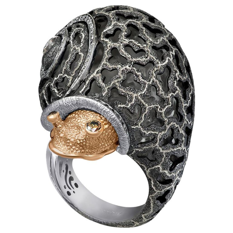 Alex Soldier Diamond Gold Blackened Textured Sterling Silver Codi the Snail Ring