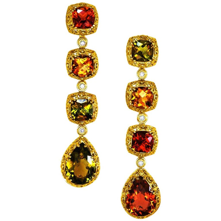 Alex Soldier Tourmaline Diamond Gold Byzantine Drop Earrings One of a Kind For Sale