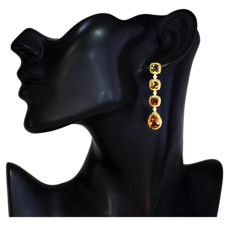 Women's Alex Soldier Tourmaline Diamond Gold Byzantine Drop Earrings One of a Kind For Sale
