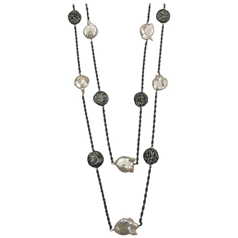 Alex Soldier Pearl Oxidized Sterling Silver Necklace One of a Kind