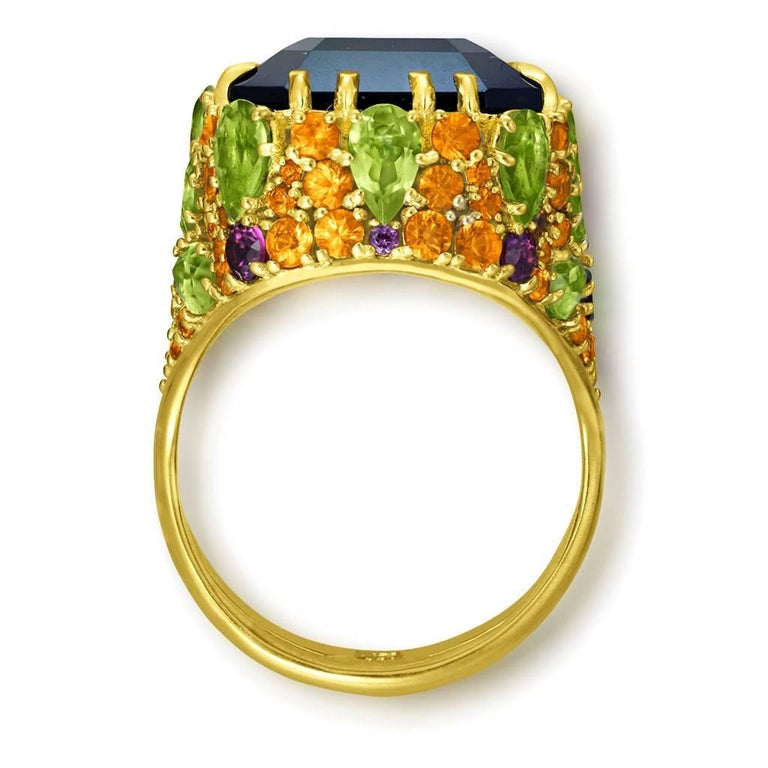 Alex Soldier Amethyst Sapphire Peridot Garnet Diamond Gold Cocktail Ring In New Condition In New York, NY