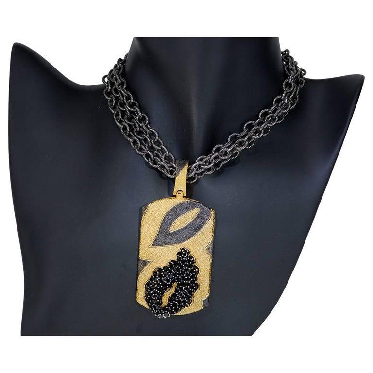 Women's or Men's Alex Soldier Spinel Sterling Silver Gold Platinum Textured Tag Locket Pendant For Sale