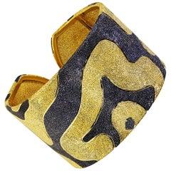 Alex Soldier Sterling Silver Yellow Gold Rhodium Textured Hinged Cuff Bracelet