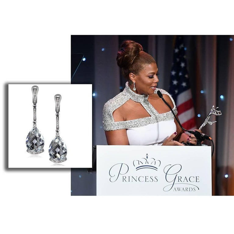 Alex Soldier Diamond White Quartz Gold Swan Drop Earrings For Sale 2