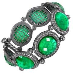 Alex Soldier Green Agate Quartz Oxidized Sterling Silver Bracelet Choker