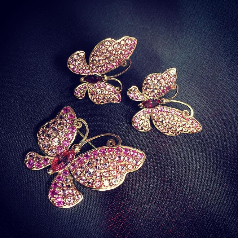 Marquise Cut Alex Soldier Sapphire Topaz Gold Butterfly Stud Earrings One of a Kind For Sale