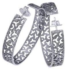 Alex Soldier Sterling Silver Platinum Textured Hoop Earrings