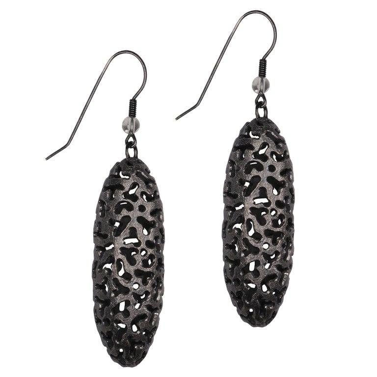 Alex Soldier Quartz Sterling Silver Rhodium Textured Drop Dangle Earrings