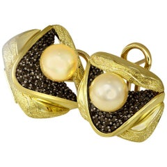 Pearl Diamond Gold Textured Stud Earrings Cufflinks One of a Kind