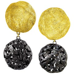 Alex Soldier Sterling Silver Yellow Gold Platinum Drop Textured Clip-On Earrings