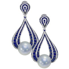 Sapphire Pearl White Gold Drop Textured Earrings One of a Kind