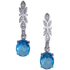 Blue Topaz Diamond Gold Drop Dangle Earrings One of a Kind