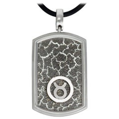 Taurus Zodiac Sterling Silver Platinum Tag Necklace on Cord