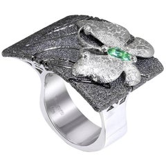 Tourmaline Sterling Silver Platinum Textured Butterfly Ring