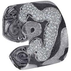Hand-Textured Topaz Quartz Platinum Sterling Silver Hinged Cuff Bracelet