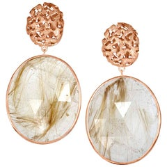 Rutilated Quartz Rose Gold Hand-Textured Drop Earrings One of a Kind