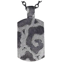 Alex Soldier Sterling Silver Platinum Textured Tag Pendant Necklace on Chain