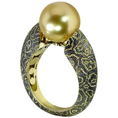 South Sea Pearl Textured Yellow Gold Rhodium Ring One of a Kind