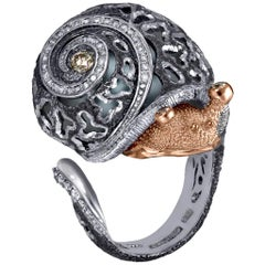 Diamond Gold Sterling Silver Textured Signature Codi the Snail Ring