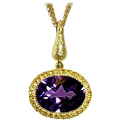 Amethyst Sapphire Gold Pendant Necklace on Chain