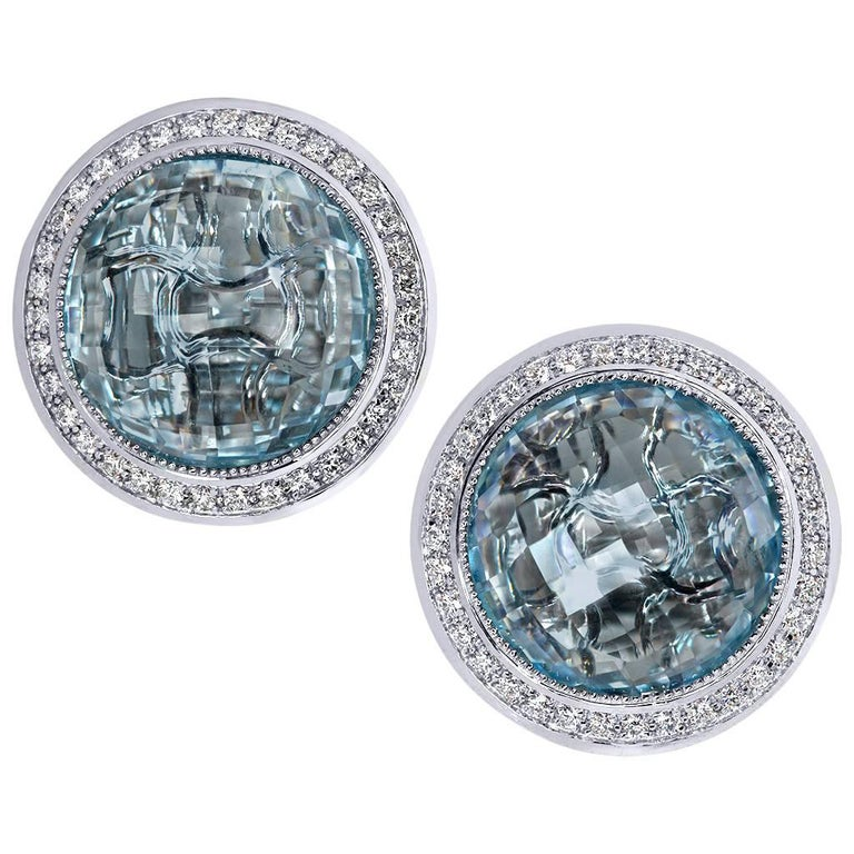 Blue Topaz Diamond Gold Stud Earrings Cufflinks One of a Kind For Sale