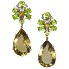 Champagne Quartz Peridot Pink Sapphire Diamond Gold Drop Earrings