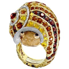 Diamond Sapphire Ruby Garnet Citrine Platinum Gold Sunny The Snail Ring