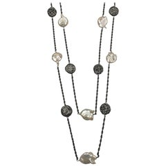Pearl Oxidized Sterling Silver Necklace One of a Kind