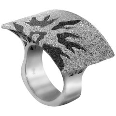 Sterling Silver Platinum Textured Sun Pattern Ring