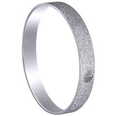 Sterling Silver Platinum Textured Bangle Bracelet