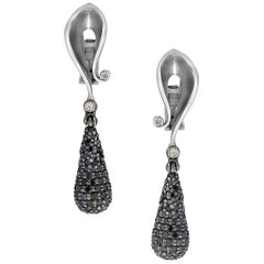 Diamond White Gold Textured Drop Dangle Earrings One of a Kind