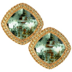 Green Amethyst Peridot Gold Earrings Cufflinks One of a Kind