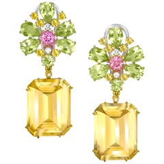 Alex Soldier Citrine Lemon Quartz Pink Topaz Diamond Gold Blossom Earrings