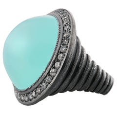 Chalcedony Topaz Oxidized Sterling Silver Cocktail Ring