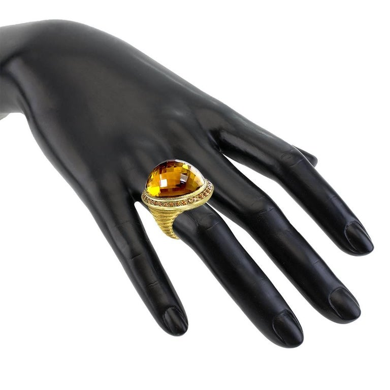 Alex Soldier Citrine Spessartite Garnet Gold Cocktail Ring One of a Kind In New Condition For Sale In New York, NY