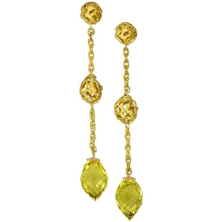 Lemon Citrine Gold Textured Drop Earrings One of a Kind For Sale