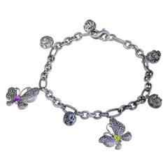 Peridot Amethyst Diamond Sterling Silver Butterfly Snail Charm Bracelet