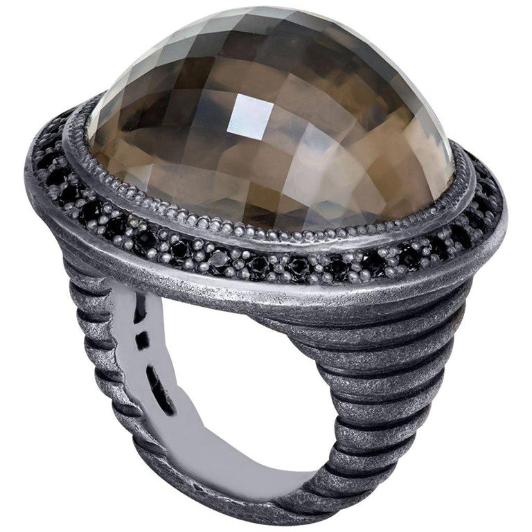 Smoky Topaz Oxidized Sterling Silver Cocktail Ring One of a Kind For Sale