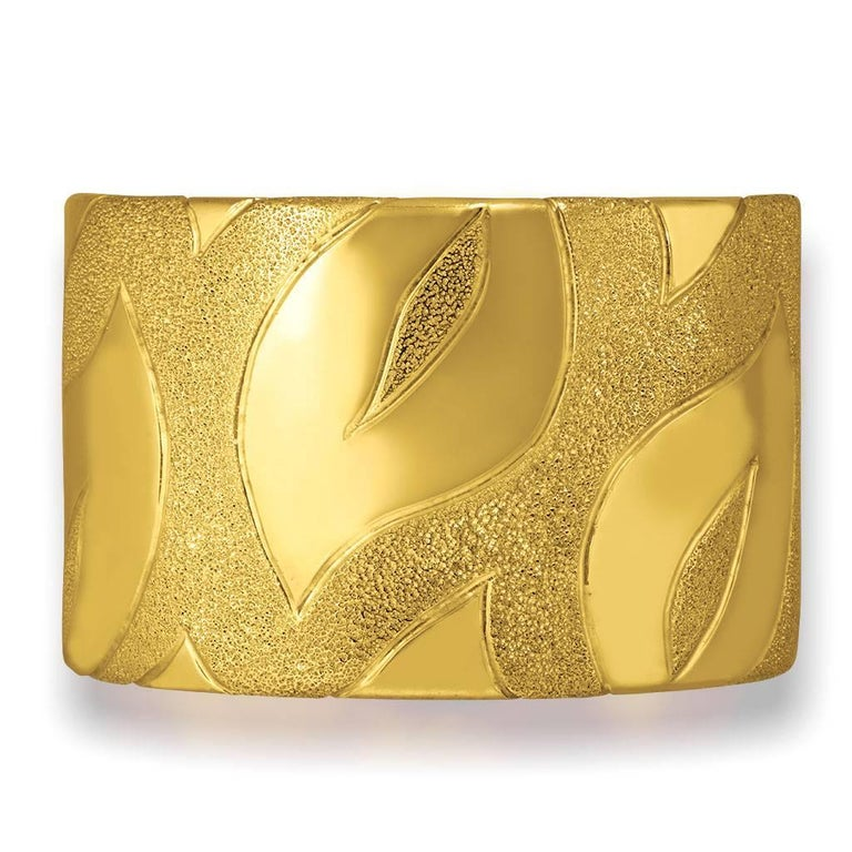Alex Soldier Leaf Cuff: made in sterling silver with 24 karat yellow gold infusion (deep plating). Handmade in NYC, it features double hinges for extra comfort and is finished with proprietary metalwork that creates an illusion of a diamond inlay.