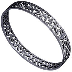 Sterling Silver Dark Platinum Textured Bangle Bracelet