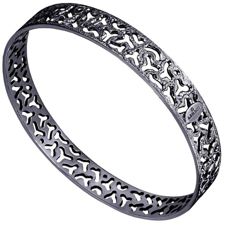 Sterling Silver Dark Platinum Textured Bangle Bracelet For Sale