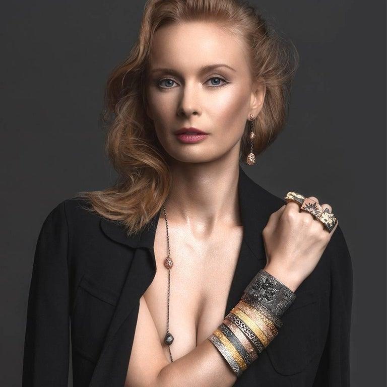 Sterling Silver Dark Platinum Textured Bangle Bracelet For Sale 1