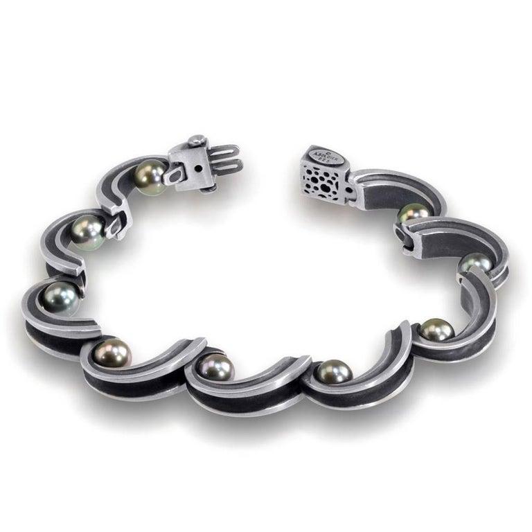 Alex Soldier Sterling Silver Pearl Wave Bracelet. Handmade in NYC.