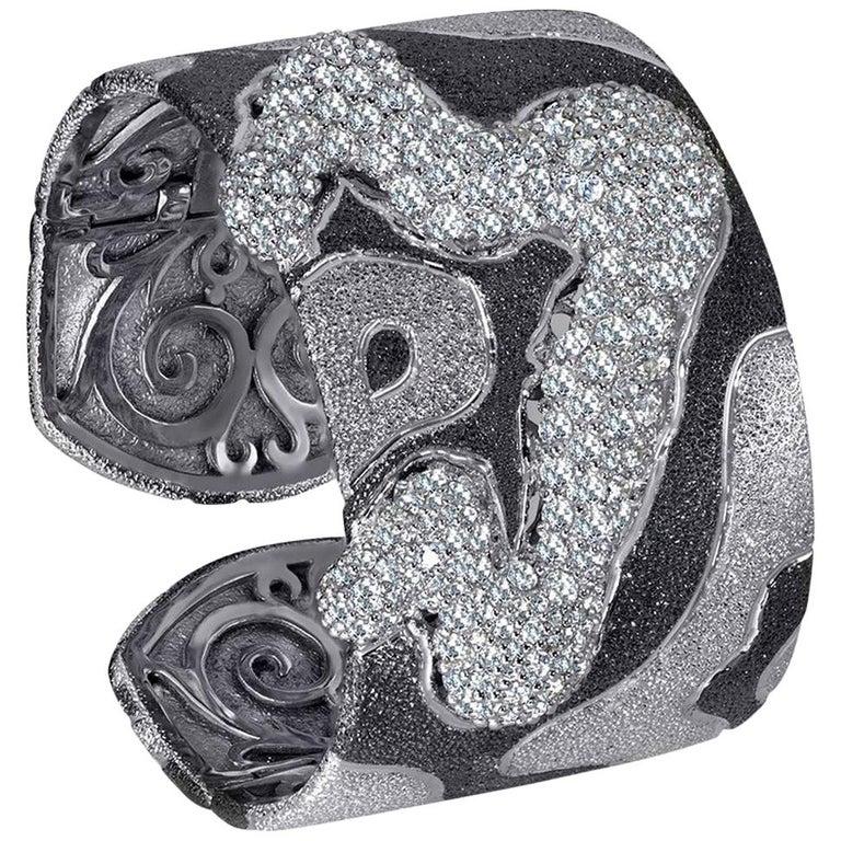 Topaz Quartz Platinum Sterling Silver Hinged Cuff Bracelet For Sale