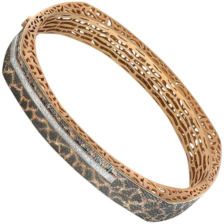 Diamond Rose Gold Hand-Textured Hinged Bracelet One of a Kind For Sale