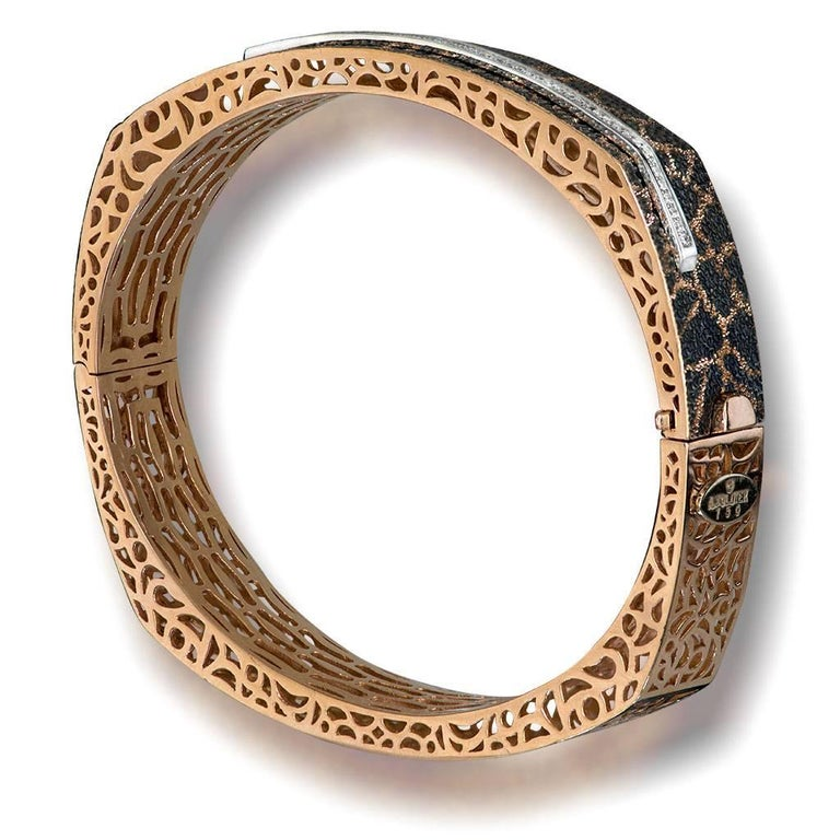 Round Cut Diamond Rose Gold Hand-Textured Hinged Bracelet One of a Kind For Sale
