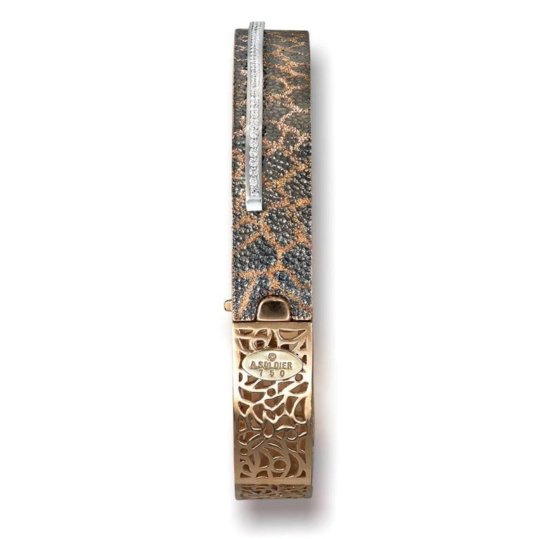 Women's or Men's Diamond Rose Gold Hand-Textured Hinged Bracelet One of a Kind For Sale